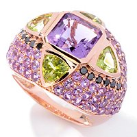14K RG ASSCHER AMY, PERIDOT AND BLK DIAMOND RING