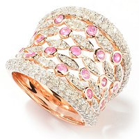 14K RG DIAMOND BAND RING WITH PINK SAPP