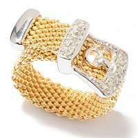 SS WITH BONDED 14K GOLD DIAMOND BUCKLE RING