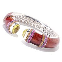 BALISSIMA BY EFFY STERLING SILVER LEMON QUARTZ, PINK & YELLOW SAPPHIRE BANGLE