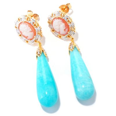 121-566 - Gems en Vogue II Hand Carved Shell Cameo & 30 x 10mm Blue Amazonite Earrings