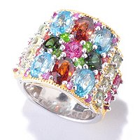 SS/PALL RING MULTI-GEMSTONE