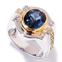 MEN'S - SS/PALL RING LONDON BLUE TOPAZ & WHT SAPH