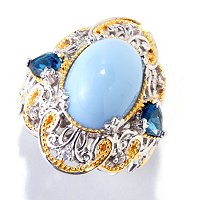 SS/PALL RING BLUE OPAL w/ LONDON BLUE TOPAZ & WHT SAPH