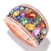 EFFY 14K ROSE GOLD DIAMOND & MULTI SAPPHIRE RING