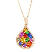 EFFY 14K ROSE GOLD DIAMOND & MULTICOLOR PENDANT