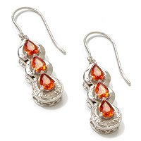 SS ORANGE SAPPHIRE & DIAMOND EARRINGS