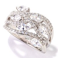 BLTA SS/PLAT MARQUISE WAVE DOME RING