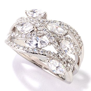 121-587 - Brilliante® Platinum Embraced™ 2.12 DEW Marquise Wave Dome Ring