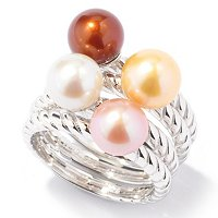 SET OF FOUR SS 7-8mm ROUND WHITE, PINK, MOCHA & GOLD STACKER RINGS