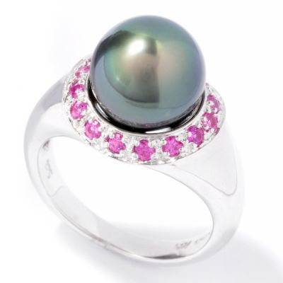 121-617 - Sterling Silver 10-11mm Tahitian Cultured Pearl & Pink Sapphire Halo Ring
