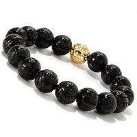 SS/YP 12mm CARVED ONYX & BEAD STRETCH BRACELET