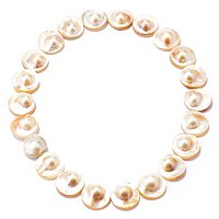 "19"" 21-22mm NATURAL COLOR MABE BLISTER PEARL NECKLACE w/MAGNETIC CLASP"