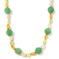 "SS 28"" 14MM HAND CARVED JADE & KESHI FWP NECKLACE"