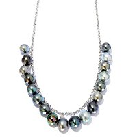 "SS 20"" 9-10mm 18 PEARL CIRCLE TAHITIAN CHAIN NECKLACE"
