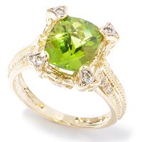 14K RING PERIDOT & DIAMOND