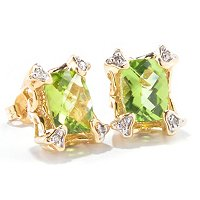 14K EAR PERIDOT & DIAMOND STUD
