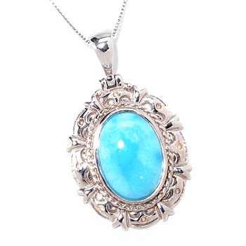 121-667 - Gem Insider 16 x 12mm Larimar Scroll Detailed Pendant w/ 18'' Chain