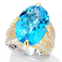 SS/PALL RING SWISS BLUE TOPAZ & WHT SAPH
