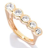 SB SS/CHOICE ROUND CUT BEZEL SET 5 STONE ANGLED SQUARE SHAPE RING
