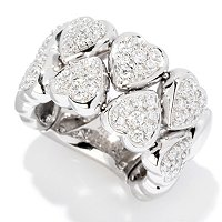 SB SS/CHOICE PAVE TWO ROW HEART FLEX RING