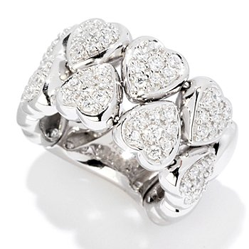 121-677 - Sonia Bitton for Brilliante® 1.33 DEW Two-Row Pave Heart Dream Fit Ring
