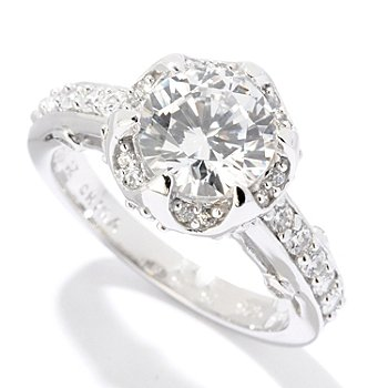 121-680 - Brilliante® Platinum Embraced™ 2.17 DEW Round Cut Simulated Diamond Fancy Set Ring