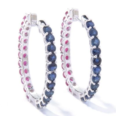 121-689 - NYC II 6.11ctw Blue Sapphire & Ruby Reversible Hoop Earrings