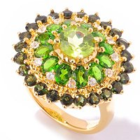 SS/18KV RING PERIDOT, CHROME DIOP & GREEN TOURMALINE