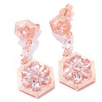 SS/18K ROSE VERMEIL EAR MORGANITE & WHT ZIRCON