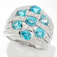 SS/PLAT RING ZIRCON WIDE BAND