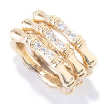 121-699 - Sonia Bitton Set of Three Platinum Embraced[ Simulated Diamond Bamboo Stack Rings