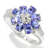 SS/PLAT RING TANZANITE & WHITE ZIRCON
