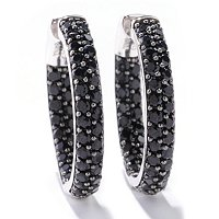 4.00 CT PAVE BLACK SPINEL HOOP EARRINGS
