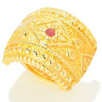 14K ELECTROFORM SILICONE FILLED ORO VITA SHEILD RUBY ACCENT RING