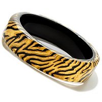 ORO PURO GOLD FOIL AND BLACK ENAMEL ANIMAL PRINT BANGLE