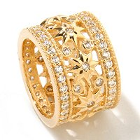 SB SS/GOLD ROUND CUT STARBURST AND BEZEL SET OPEN GALLERY ETERNITY BAND