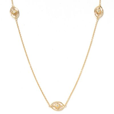 "121-765 - Sonia Bitton for Brilliante® Gold Embraced™ 24"" Starburst Station Necklace"