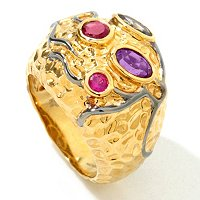 PW - SS/18KGP RING MULTI-GEMSTONE HAMMERED DOME