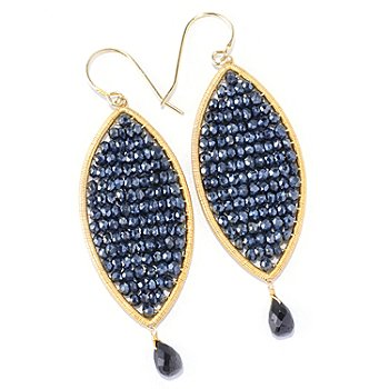 121-807 - Kristen Amato Black Spinel Beaded Drop Earrings