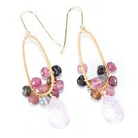 KA - SS/18KGP EAR MULTI-TOURMALINE & ROSE QUARTZ DROP