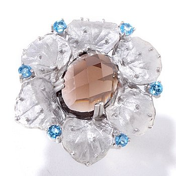 121-812 - Kristen Amato 6.07ctw Smoky Quartz & Swiss Blue Topaz Ring