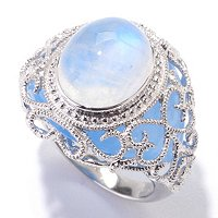 SS OVAL MOONSTONE WITH BLUE JADE RING