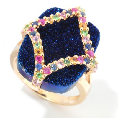 121-827 - Gem Insider 20 x 16mm Electric Blue Drusy & Multi Gem Ring