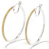SS .50ct DIAMOND HOOP EARRINGS