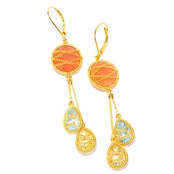 121-836 - Kristen Amato Peach Moonstone, Quartz & Topaz Drop Earrings