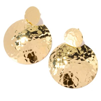 121-855 - Toscana Italiana Gold Embraced™ High Polished Round Martellato Medallion Earrings