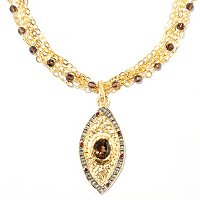 "BRONZE/18KGP & BLK RHOD NECK TT MULTI-GEM EVIL EYE w/ 20"" MULTI STRAND GEM CHAIN"