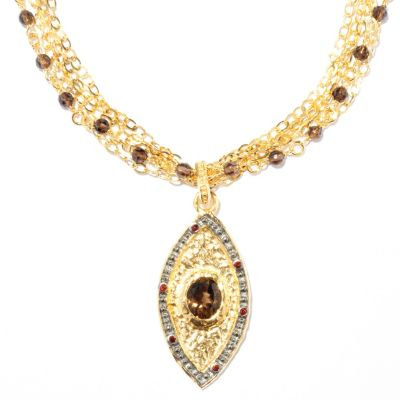 "121-858 - Toscana Italiana Gold Embraced™ 20"" 14.94ctw Multi Gemstone Evil Eye Necklace"