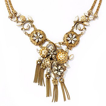 121-873 - Sweet Romance™ 20.5'' Gold-tone Mid Century Elements Tassel Necklace